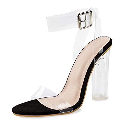 Holiday Sandals Womens (Women's High Heel Platform Dress Pump Sandals Ankle Strap Block Clear Chunky Heels Holidays Party Shoes - 7 Transparent Black)
