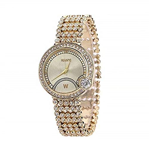 Heyuni.Unisex Luxury Iced Out Pave Floating Crystal Diamonds Calendar Quartz Watch with Stainless Steel Link Bracelet