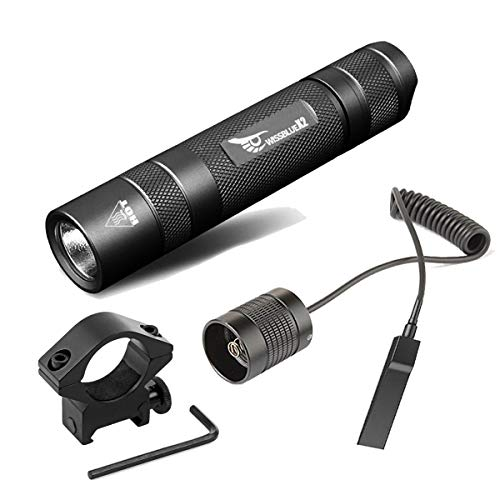 WISSBLUE High Power Tactical Flashlight 1000 Lumen, Single Mode LED Light With Picatinny Rail Mount For AR-15 M4 rifle, Hunting Shooting Weapon Light, Rechargeable Batteries And Pressure Tail Switch