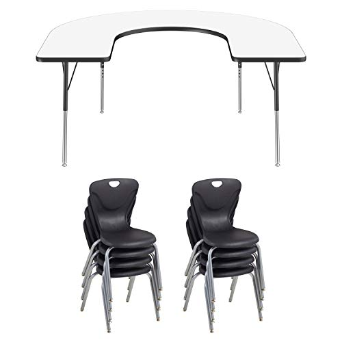 FDP Horseshoe Dry-Erase Whiteboard Activity School and Office Table (60 x 66 inch), Standard Legs with Swivel Glide and Eight 18 inch Contour Chairs ()