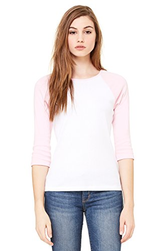 (Bella Womens Baby Rib Contrast 3/4 Sleeve Raglan T-Shirt in SM in b-BB2000-WHITE-PINK)