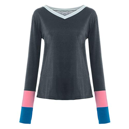 IEason Women V-Neck Patchwork Stripe T-Shirt Suit All Seasons Casual Loose Long Sleeve Pullover Blouse