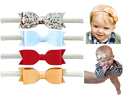 - California Tot Faux Leather Bow - Super Stretchy Headbands for Baby Toddler Girls, Set of 4 (Festive Set)