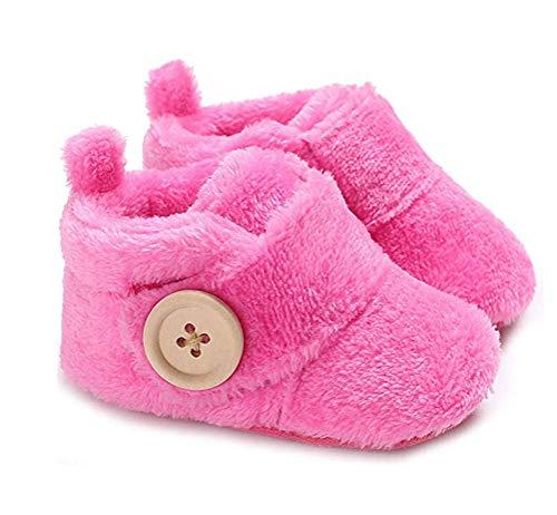 Happyear - Zapatillas de Invierno para bebé, Unisex, Zapatillas de Criber, Zapatos Antideslizantes, Rojo Rosa, 13 M US