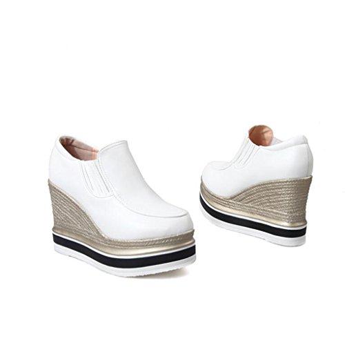 pour Talons Profonde Printemps Ronde Pente Chaussures Épais Et Hauts Automne Bouche Blanc Chaussures Casual Fond Super Femmes Tête escarpins ax4RqpR
