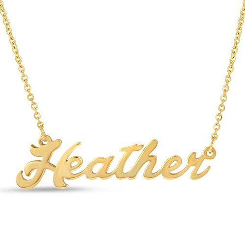 Personalized English Name Necklace Pendant Yellow Gold Plated Over Brass, Gift To Her (Heather)