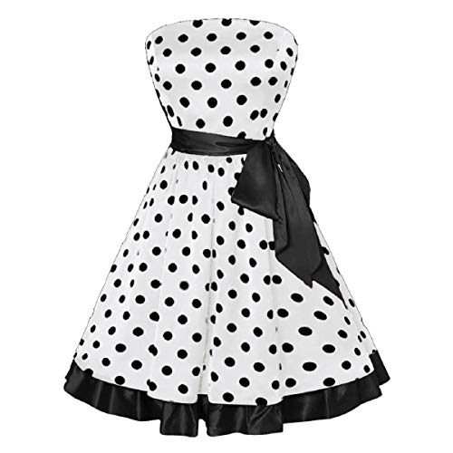 OTINICE Vintage Swing Dress Women Sleeveless Dot Print Belted Flare Party Ball Gown White ()