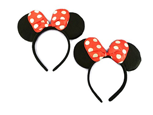 Mickey / Minnie Mouse ears bow headband for boys, girls, children birthday party and more! (Small Red Polka-dot Bow (2 ()