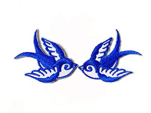 Large T-shirt White Embroidered - Tyga_Thai Brand Set 2 pcs. Mini Cute Blue White Little Bird Tattoo Swallow Dove Sparrow Logo Jacket T-Shirt Sew Iron on Embroidered Applique Badge Sign Patch Clothing etc. (Iron-Bird-Swallow-BLWH)