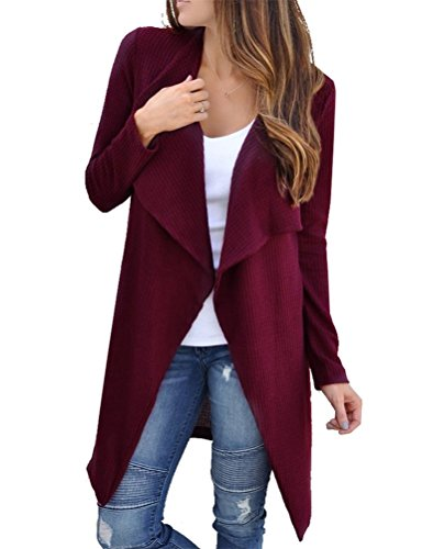 Cross-Woven Long Sleeve Open Front Cardigan Sweater Jacket Coat Outwear (Wine Red, M) (Juniors Open Weave)