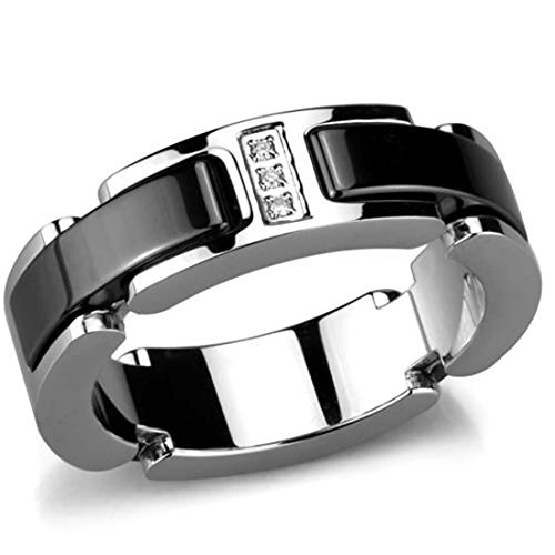 Polished Stainless Steel Jet Black Ceramic Fashion Ring w/Crystal Inlay, Size 8