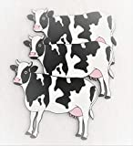 LONSEN Cow Silicone Pot Holders Set of 3, Insulated Flexible Durable Non Slip Coasters Hot Pads Heat Resistant Silicone Trivet Mat Safe Kitchen Trivet Bowl Mat