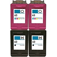 OCProducts Refilled HP 63 Ink Cartridge Replacement for HP Deskjet 2130 2132 3630 3632 3634 1110 Envy 4520 Officejet 3830 Printers (2 Black 2 Color)