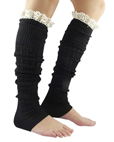 Black Distressed Net Fingerless Gloves (Century Star Winter Cable Knit Lace Trim Fashion Soft Crochet Leg Warmers B Black)