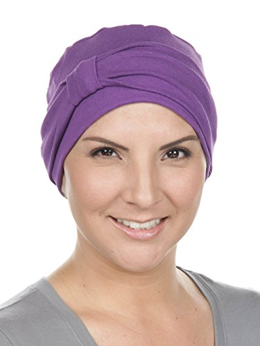 Comfort Cotton Sleep Cap & Headband Chemo Hat Beanie Turban for Cancer Purple]()