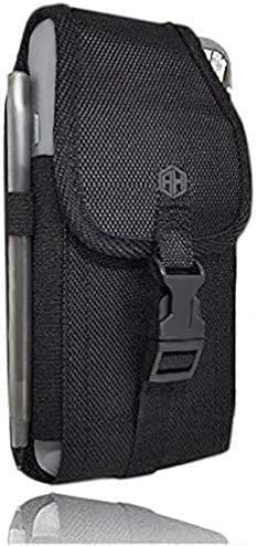 AH Military Grade Nylon Cell Phone Belt Holder for Men Android Pouch Carrying Clip for [iPhone 6 6S 7 8 X XR XS 11 12 Pro] iPhone 11 Moto Droid x Holster PRO S8 S9 S7 S20 fits Otterbox or Thick Case