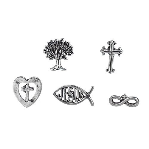 Sterling Bird Silver Brooch - Lux Accessories Silver Tone Plated Christian Themed Pins and Brooches Set of 5