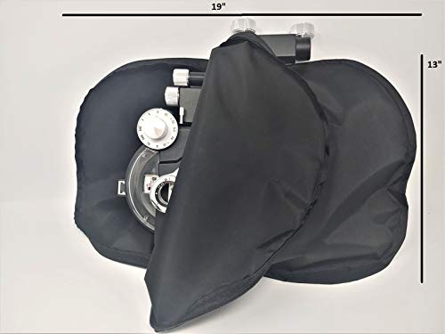 """Universal Phoropter Refractor Protective Dust Cover/w Zipper Nylon Black Color 19"""" L x 13"""" W"""
