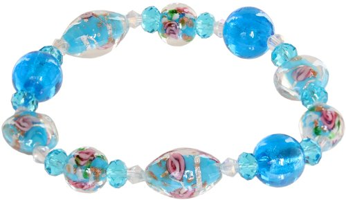 Genuine Italian Murano Glass - Ace Of Diamonds Geneva Italian Murano Glass Stretch Bracelet (Blue)