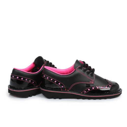 Chaussures Richelieu pour femme Kickers Kick Lo, noir–Rose
