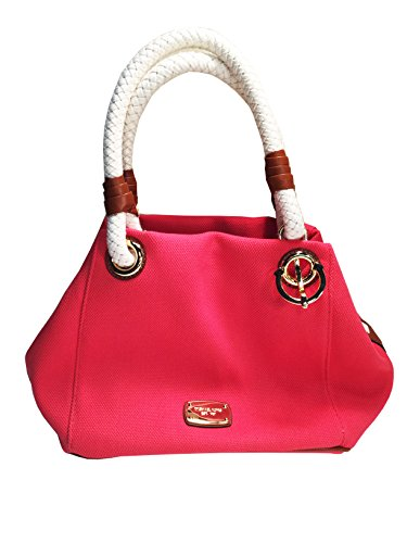 Michael Kors MD Marina Watermelon Canvas Tote - Michael And Bag White Orange Kors