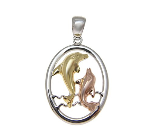 (925 Sterling silver yellow rose gold tricolor plated Hawaiian dolphin oval pendant)