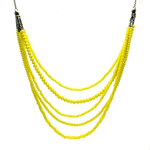Starfish Project, Gunmetal Chain and Yellow Crystal Cut Bead Multi-Strand Necklace ()