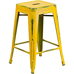 Flash Furniture 24'' High Backless Distressed Yellow Metal Indoor-Outdoor Counter Height Stool