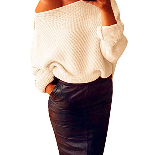 Women's Sweater,Laimeng Off Shoulder Chunky Knit Knitted Oversize Baggy Sweater Jumper (Beige, M)