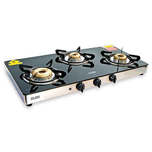 Glen 3 Burner Glass Gas Stove 1033 GT XL Auto Ignition Forged Burners Double Drip Tray