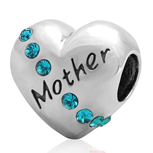 """Argent sterling 925"""" Mother """"Charm Bling Cristal Perle Compatible avec Pandora Charms I Love My Mom"""