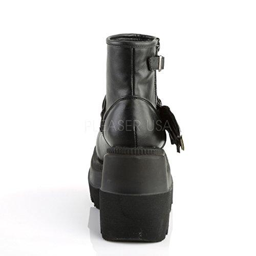 Demonia Damen Wedge Booties Plateau Stiefel Shaker-55 schwarz Mattschwarz