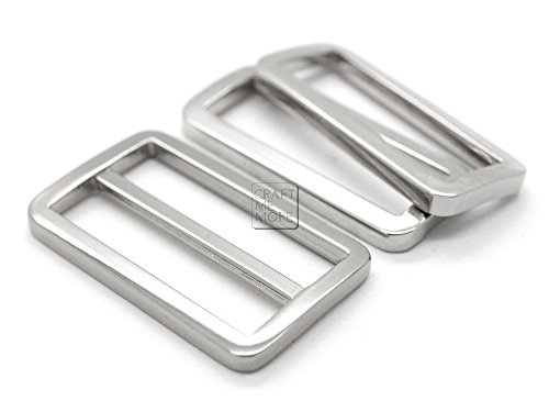 CRAFTMEmore 1SET FLAT Metal Purse Slider and Loops 1PC Slide Buckle with 2PCS Rectangular Rings Leather Craft (1 1/2 Inches, Silver)