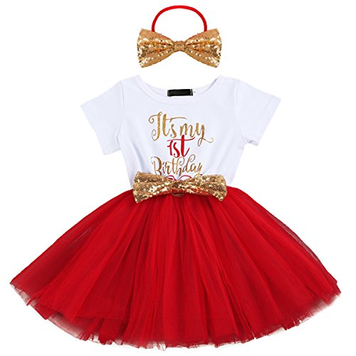 IBTOM CASTLE Kids Girl Princess It's My 1st/2nd Birthday Party Cake Smash Boutique Outfit Sequin Bow Tie Tulle Tutu Dress Clothes Gold Headband+Red(1 Years)