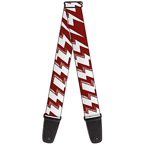 Buckle-Down 2 Inches Wide Guitar Strap - Lightning Bolts Sketch Red/White (GS-W31277)