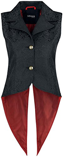 Gothicana by EMP Goth Brocade Vest Chaleco Mujer Negro Negro