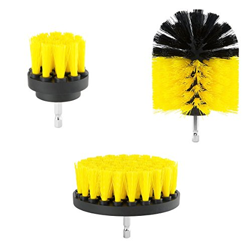 ORIGINAL Drill Brush 360 Attachments 3 pack kit Medium- Yellow All purpose Cleaner Scrubbing Brushes for Bathroom surface, Grout, Tub, Shower, Kitchen, Auto,Boat,RV - Purpose Bathroom Cleaner