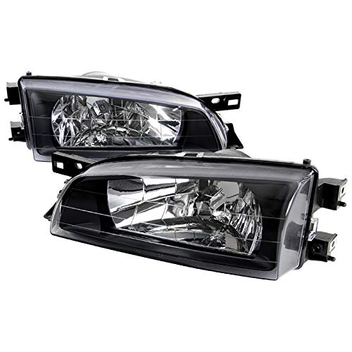 For Subaru Impreza JDM Crystal Black Diamond Headlights Head Lamps Pair