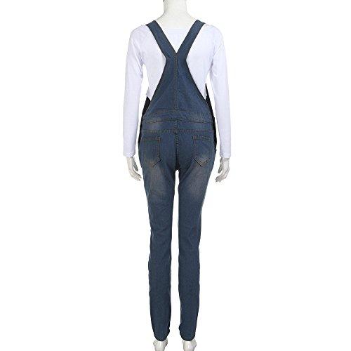 Cinghie Denim Salopette Strappati Pantaloni Ragazza Donna Topgrowth Blu Pagliaccetto Jeans Tuta Lunga 5qH0ww1
