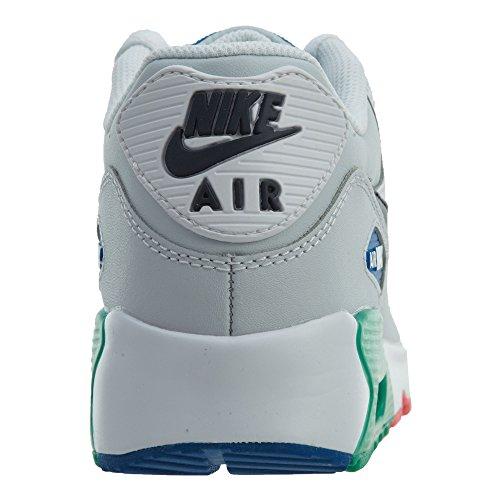 Nike Grandi Bambini Air Max 90 Scarpe Da Corsa Di Pelle, Leggero, Confortevole E Resistente Pieno Fiore E Pelle Sintetica Bianco / Platino Ossidiana Puro
