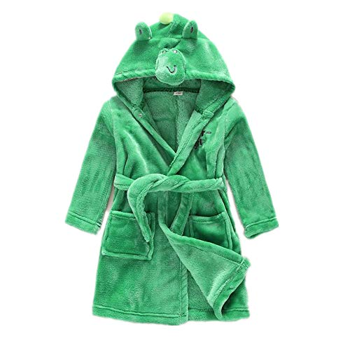 Children's Bathrobes Animal Cosplay Clothes Christmas Cartoon one-Piece Pajamas(Green 120-for Height -