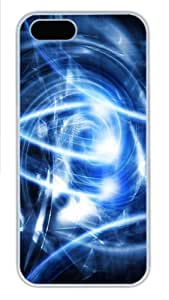 Abstract blue art Polycarbonate Hard Case Cover for iPhone 5/5S ¡§C White