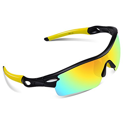 Ewin E02 Polarized Sports Sunglasses with 5 Interchangeable Lenses for Men Women Golf Baseball Volleyball Fishing Cycling Driving Running - Sunglasses Volleyball