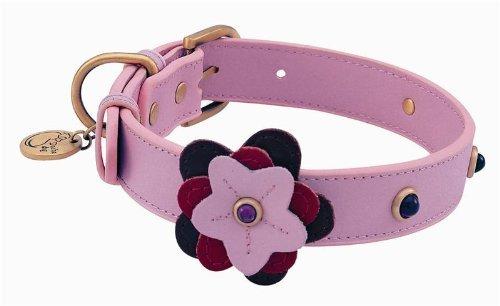 Purple Glass Petal Leather Dog Collar - Large