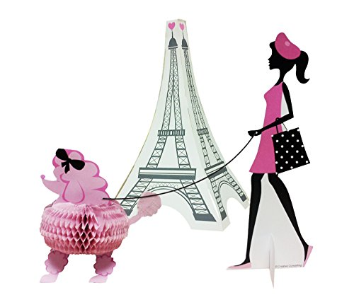 Creative Converting 265584 3 Piece Party in Paris Centerpiece Set, Pink/Black -