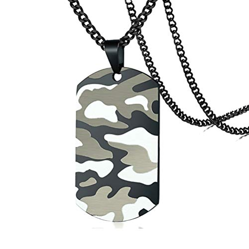 Fusamk Hip Hop Stainless Steel Camouflage Dog Tag Pendant Chain Necklace(Camouflage) ()