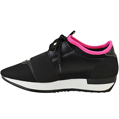 Walking Black Sneakers Stretch Size Girls Womens Leather Gym Shoes Band Faux Up Thirsty Fashion Lace 8n7Rwfq7