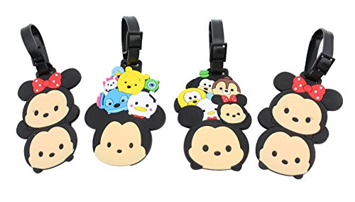 Finex Set of 4 - Tsum Tsum Mickey Mouse Minnie Mouse Travel Luggage ID Tag for Bags Suitcases with Adjustable Strap