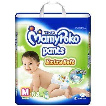 Mamy Poko Pans Extra Dry Soft Roll up M Boys & Girls Diaper 64 Pcs