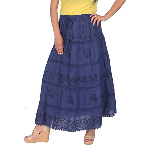 Cotton Embroidered Skirt (KayJayStyles Full Length Womens Solid Embroidered Gypsy Bohemian Long Cotton Skirt (Navy Blue))